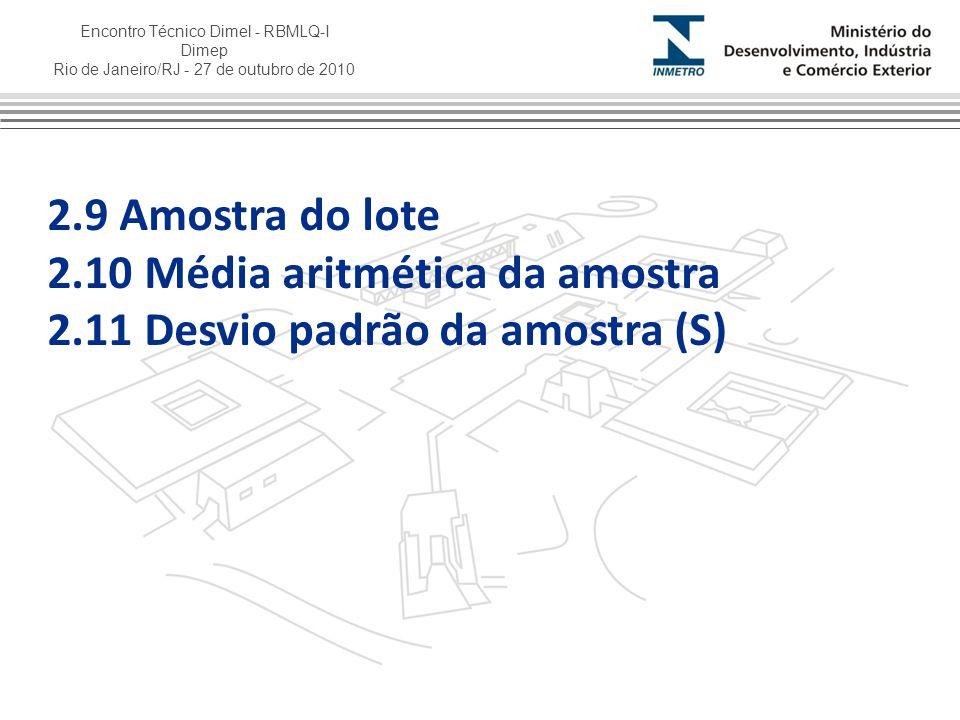 2.9 Amostra do lote 2.10 Média aritmética da amostra 2.11 Desvio padrão da amostra (S)