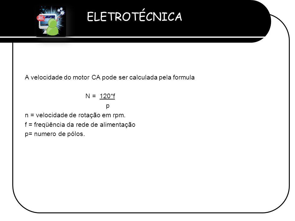 A velocidade do motor CA pode ser calculada pela formula