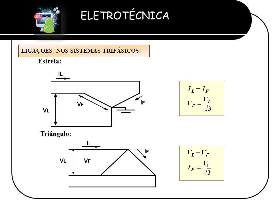 Estrela: Triângulo: LIGAÇÕES NOS SISTEMAS TRIFÁSICOS: IL IF VF VL IL
