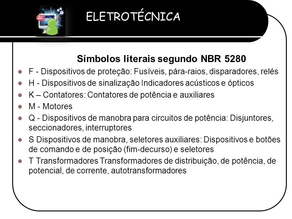 Símbolos literais segundo NBR 5280
