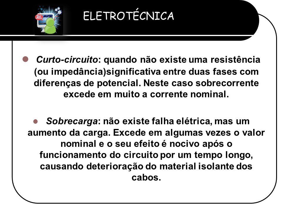 Curto-circuito: quando não existe uma resistência (ou impedância)significativa entre duas fases com diferenças de potencial. Neste caso sobrecorrente excede em muito a corrente nominal.