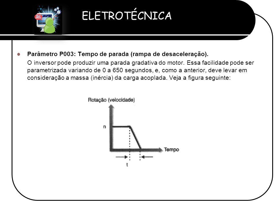 Parâmetro P003: Tempo de parada (rampa de desaceleração).