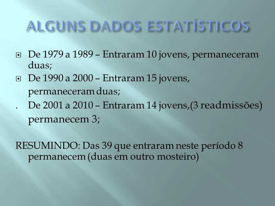 ALGUNS DADOS ESTATÍSTICOS