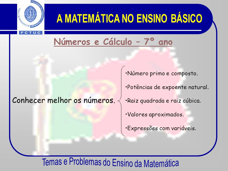 A MATEMÁTICA NO ENSINO BÁSICO Números e Cálculo – 7º ano