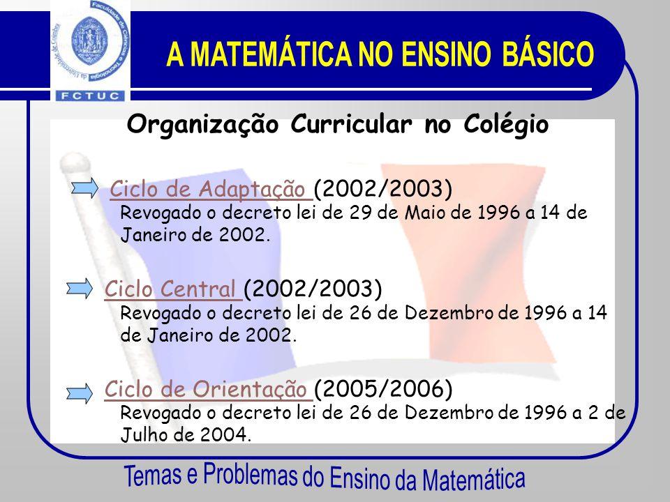 A MATEMÁTICA NO ENSINO BÁSICO Organização Curricular no Colégio