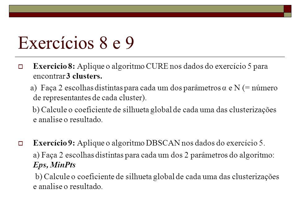 Exercícios 8 e 9 Exercicio 8: Aplique o algoritmo CURE nos dados do exercício 5 para encontrar 3 clusters.