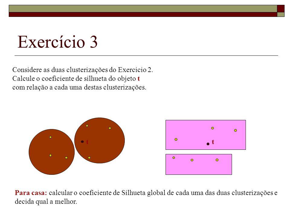 Exercício 3 Considere as duas clusterizações do Exercicio 2.
