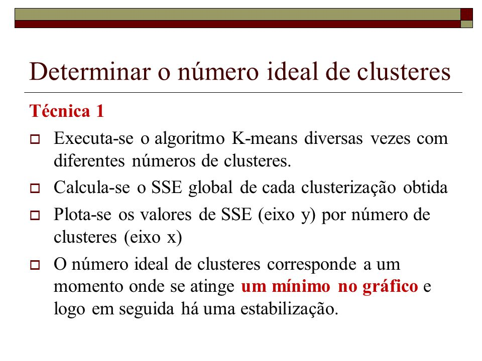 Determinar o número ideal de clusteres