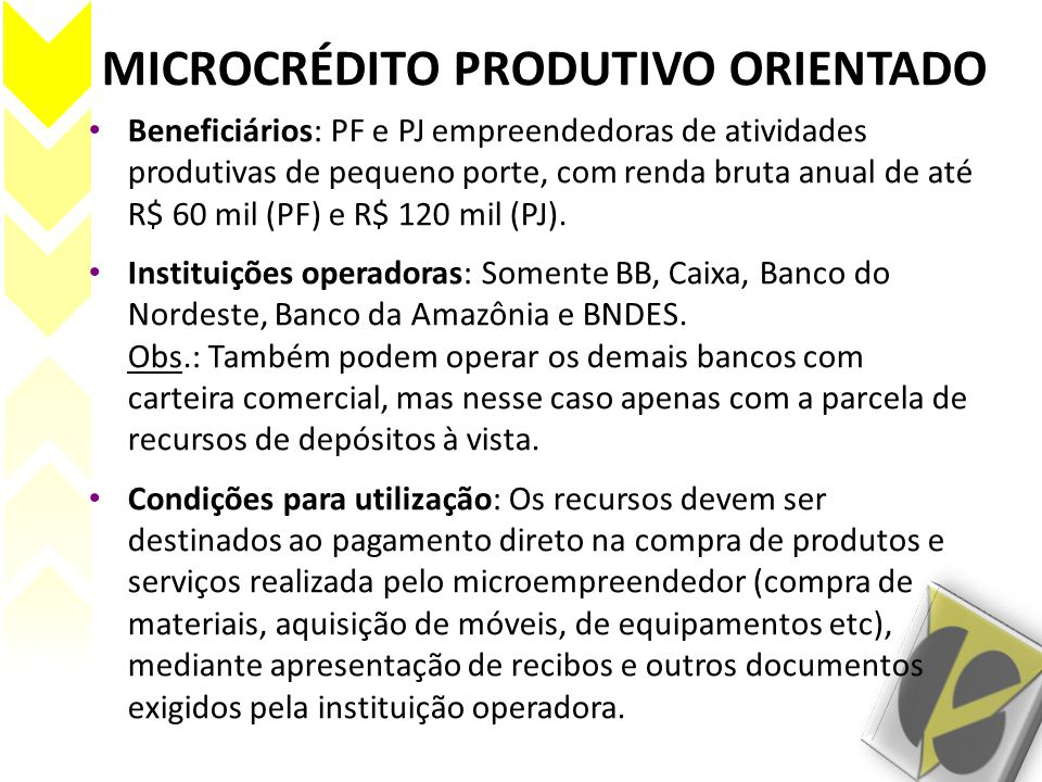 MICROCRÉDITO PRODUTIVO ORIENTADO