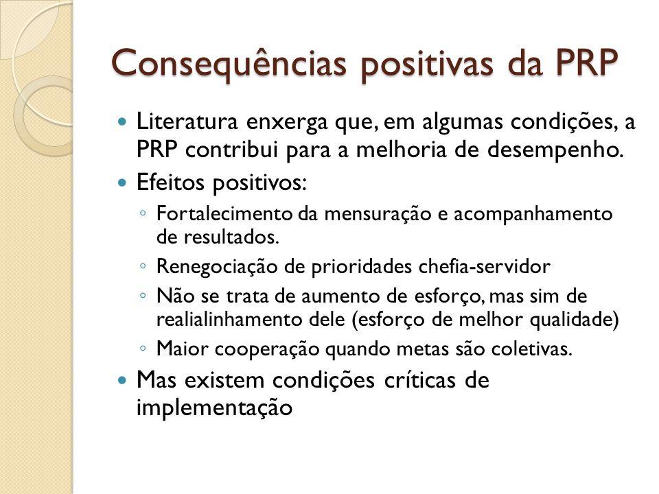 Consequências positivas da PRP