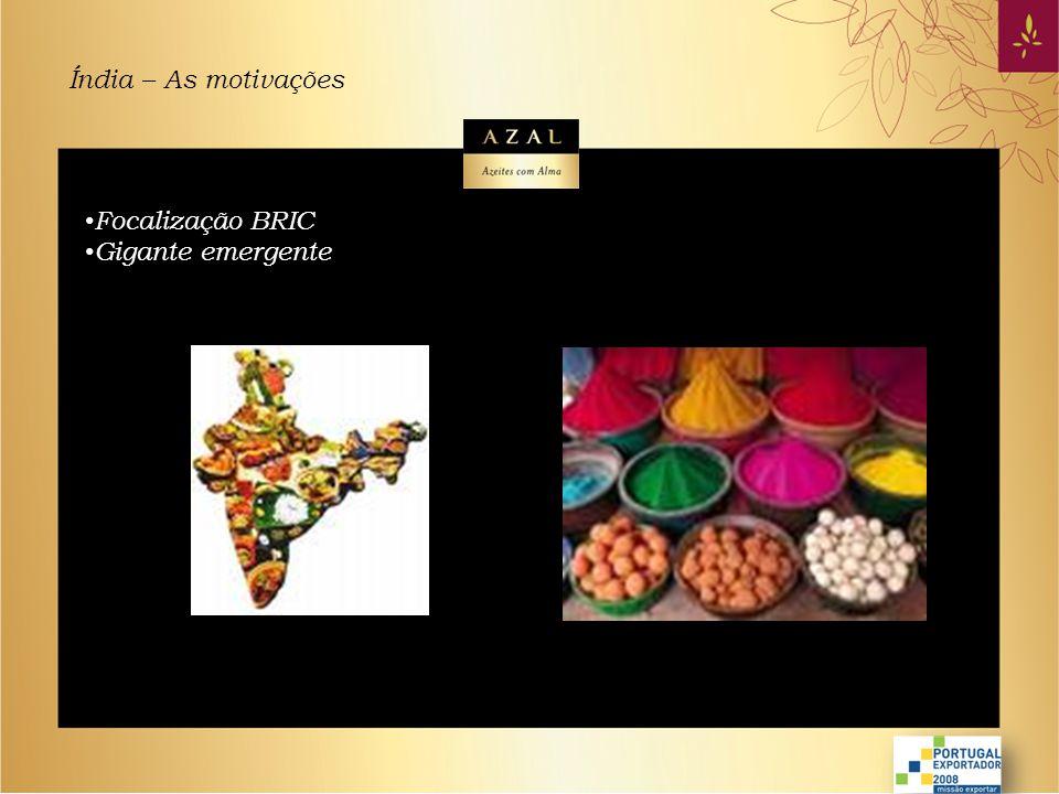 Índia – As motivações Focalização BRIC Gigante emergente