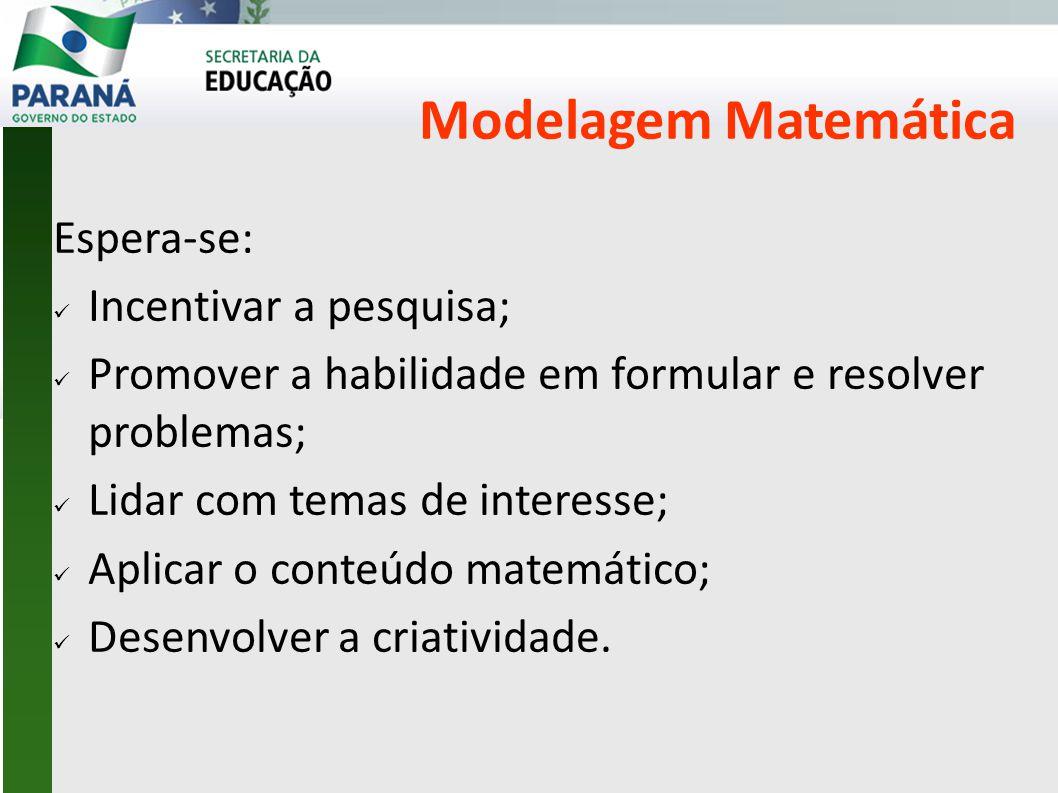 Modelagem Matemática Espera-se: Incentivar a pesquisa;
