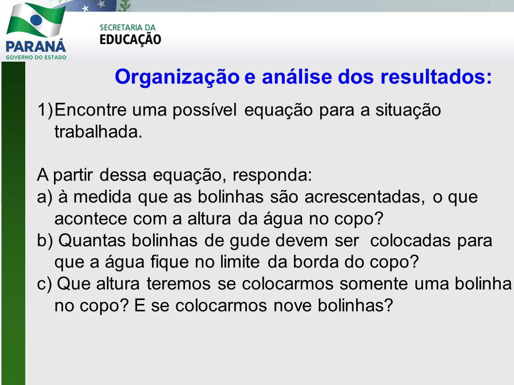 Organização e análise dos resultados: