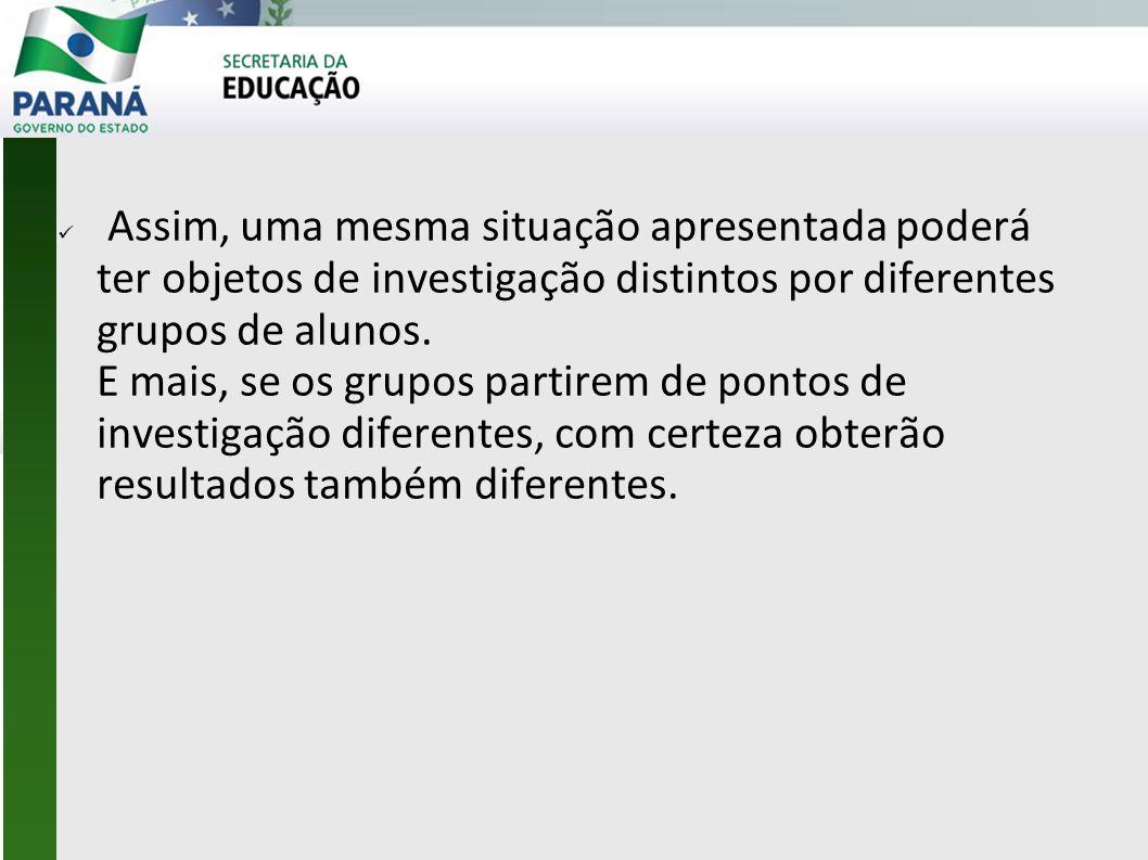 Assim, uma mesma situação apresentada poderá ter objetos de investigação distintos por diferentes grupos de alunos.