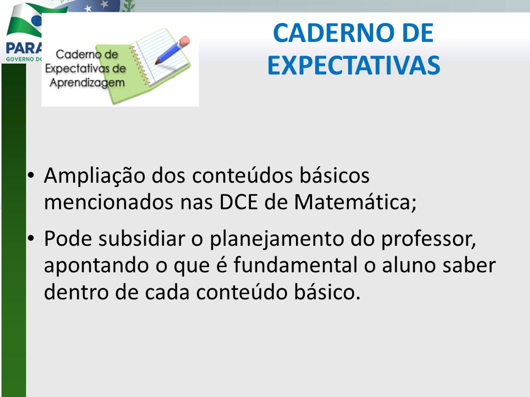CADERNO DE EXPECTATIVAS