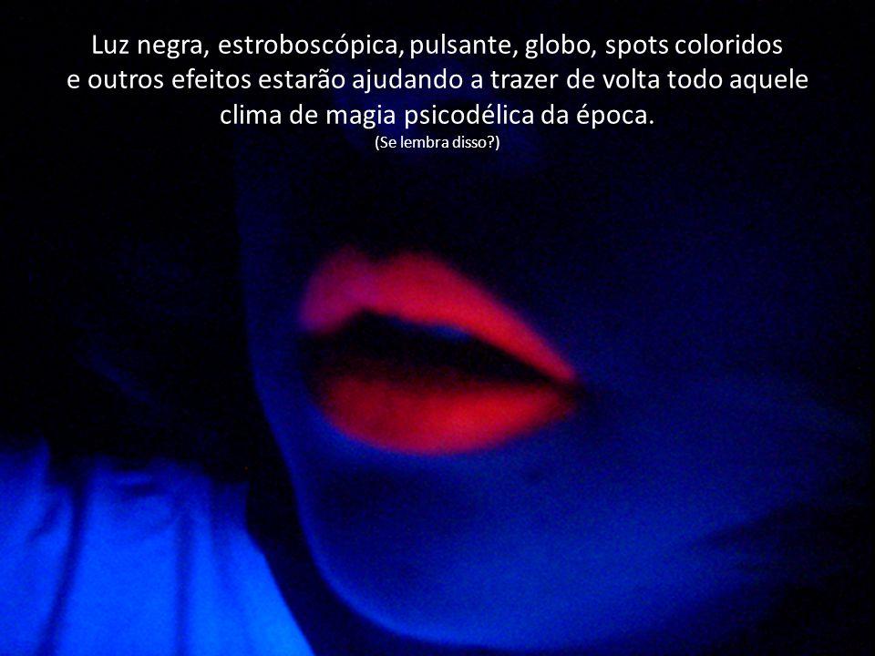 Luz negra, estroboscópica, pulsante, globo, spots coloridos