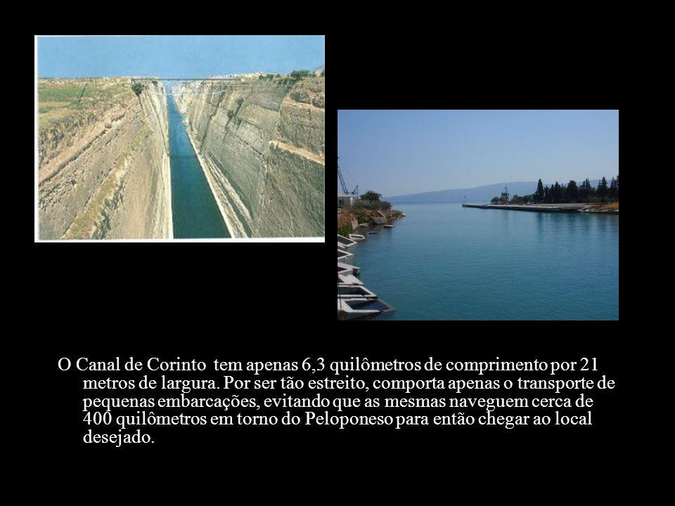 O Canal de Corinto tem apenas 6,3 quilômetros de comprimento por 21 metros de largura.