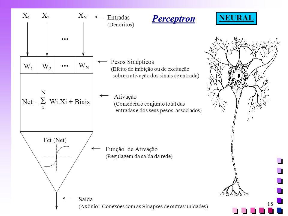 Perceptron ... NEURAL X1 X2 XN W1 W2 WN Net = S Wi.Xi + Biais Entradas
