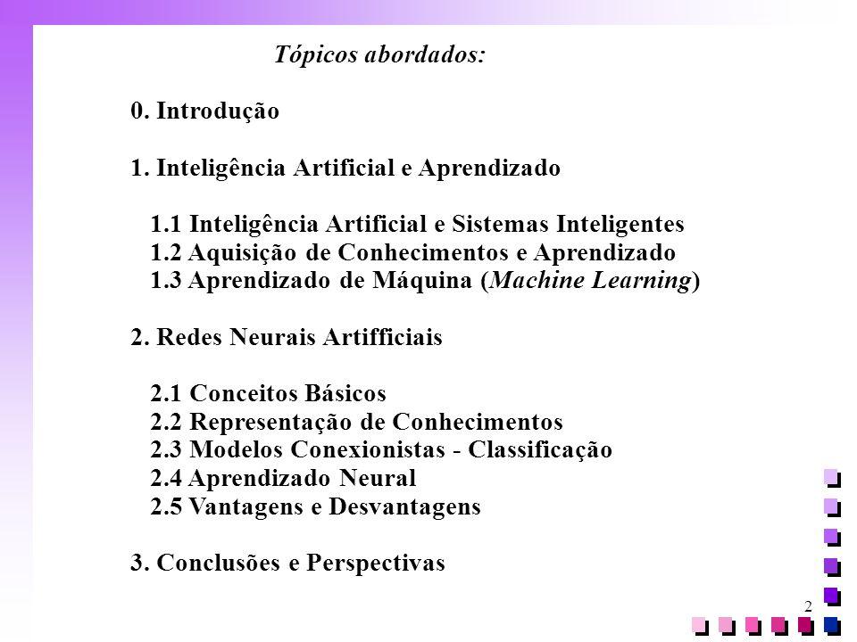 Tópicos abordados: 0. Introdução. 1. Inteligência Artificial e Aprendizado. 1.1 Inteligência Artificial e Sistemas Inteligentes.
