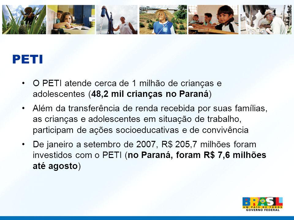 PETI O PETI atende cerca de 1 milhão de crianças e adolescentes (48,2 mil crianças no Paraná)