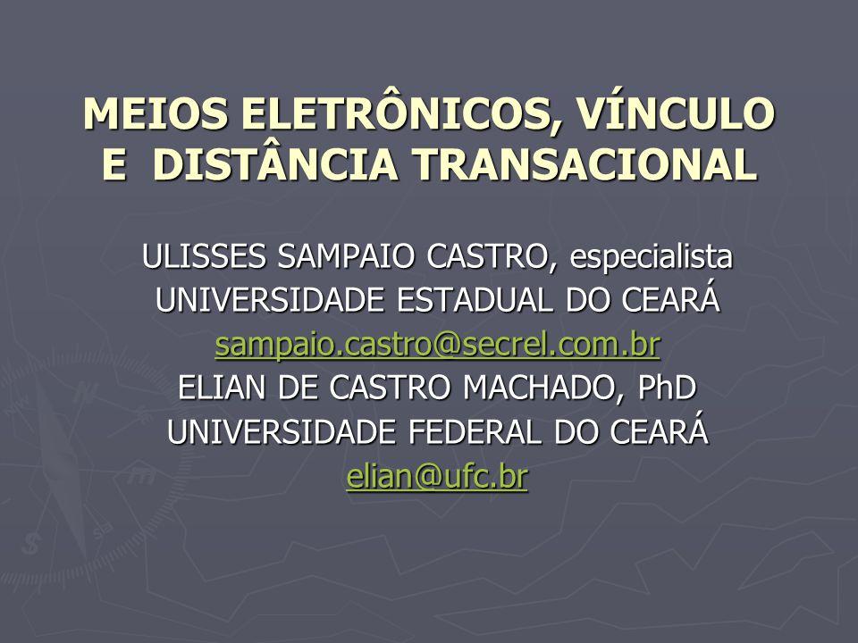MEIOS ELETRÔNICOS, VÍNCULO E DISTÂNCIA TRANSACIONAL