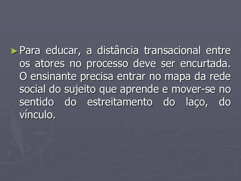 Para educar, a distância transacional entre os atores no processo deve ser encurtada.
