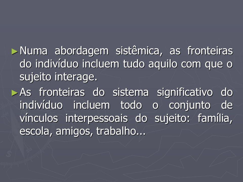 Numa abordagem sistêmica, as fronteiras do indivíduo incluem tudo aquilo com que o sujeito interage.