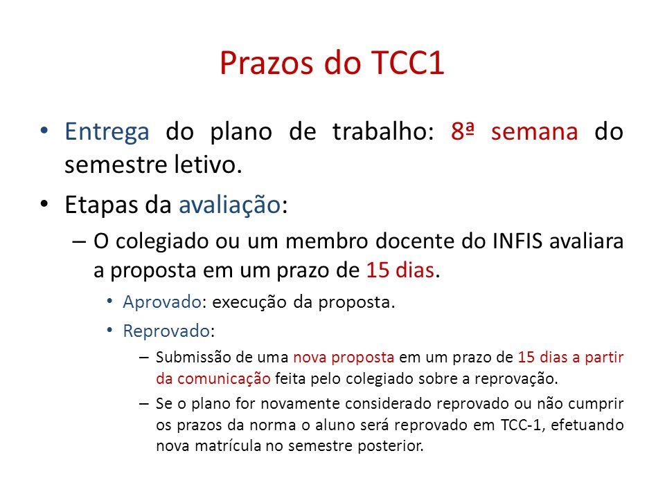 Prazos do TCC1 Entrega do plano de trabalho: 8ª semana do semestre letivo. Etapas da avaliação: