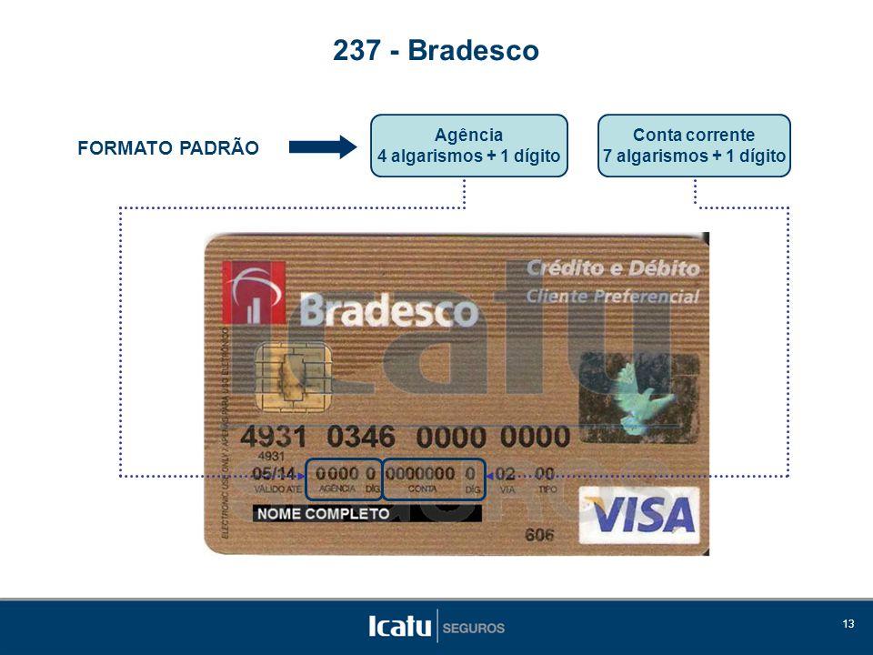 237 - Bradesco FORMATO PADRÃO Agência 4 algarismos + 1 dígito