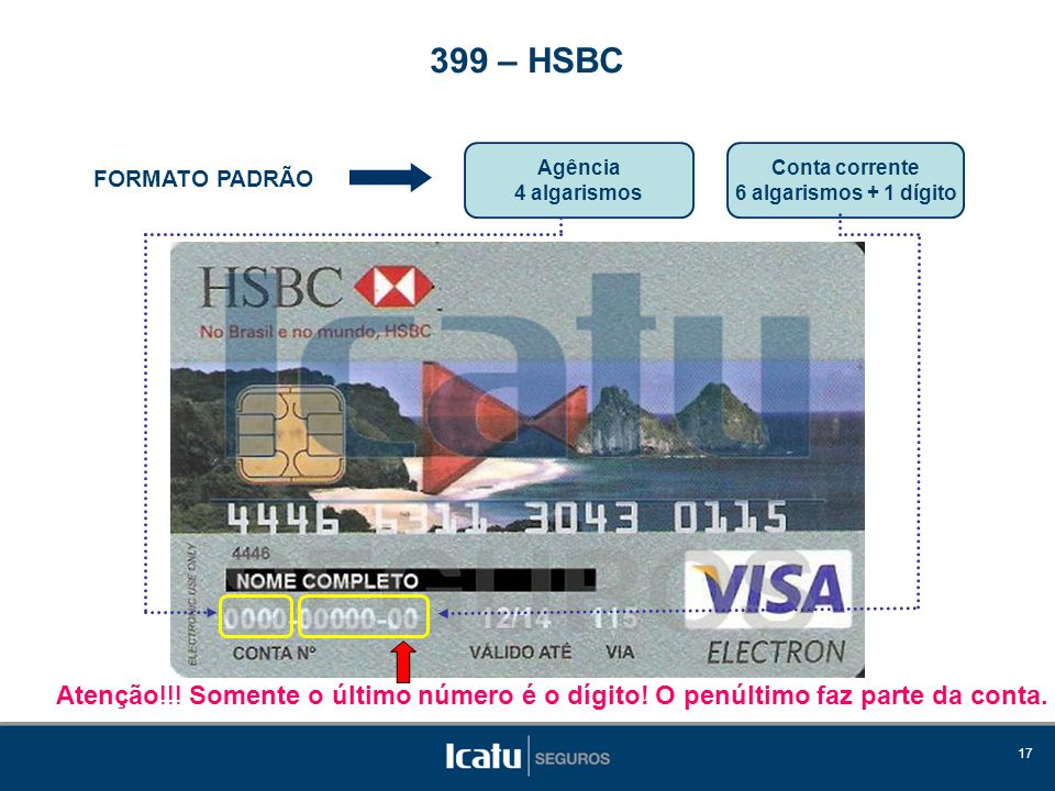 399 – HSBC Agência. 4 algarismos. Conta corrente. 6 algarismos + 1 dígito. FORMATO PADRÃO.