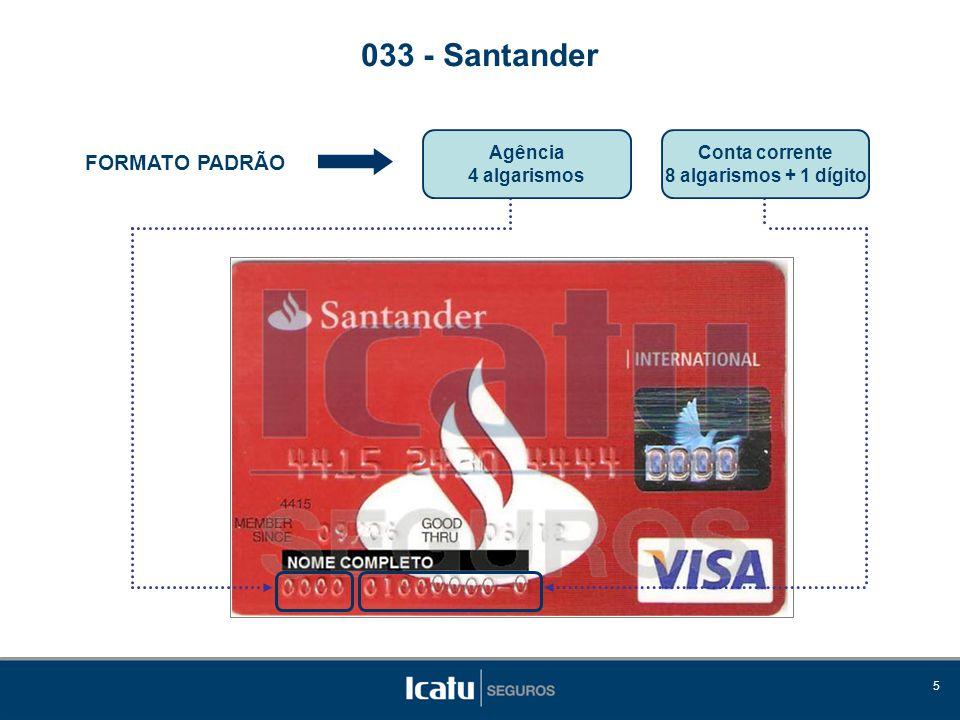 033 - Santander FORMATO PADRÃO Agência 4 algarismos Conta corrente