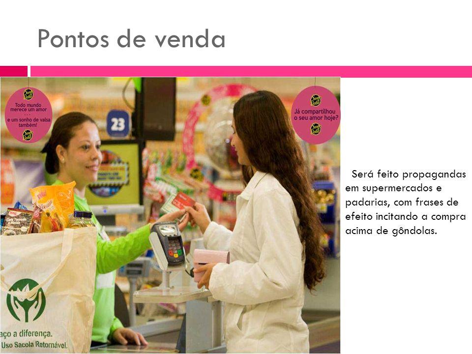 Pontos de venda Será feito propagandas em supermercados e padarias, com frases de efeito incitando a compra acima de gôndolas.