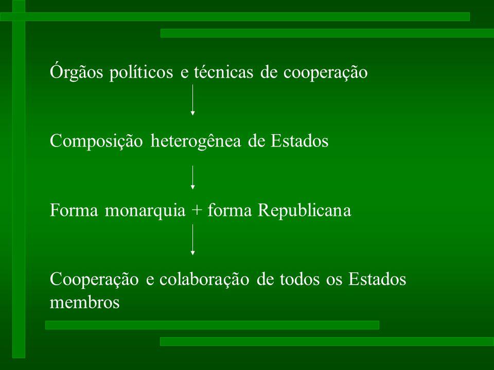 Órgãos políticos e técnicas de cooperação