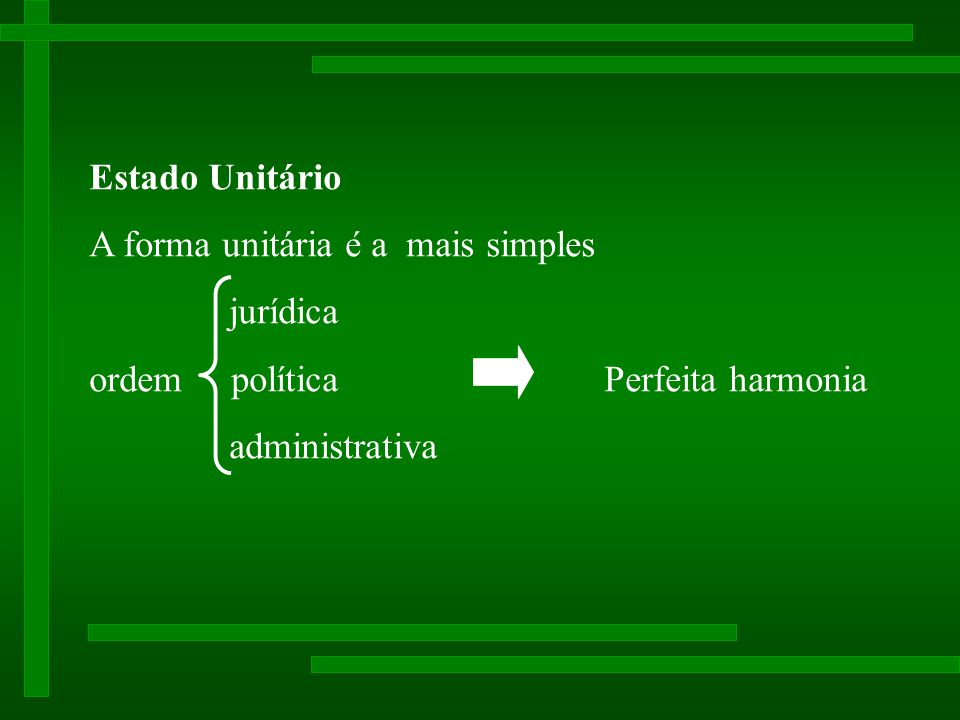 Estado Unitário A forma unitária e a mais simples. jurídica. ordem política Perfeita harmonia.