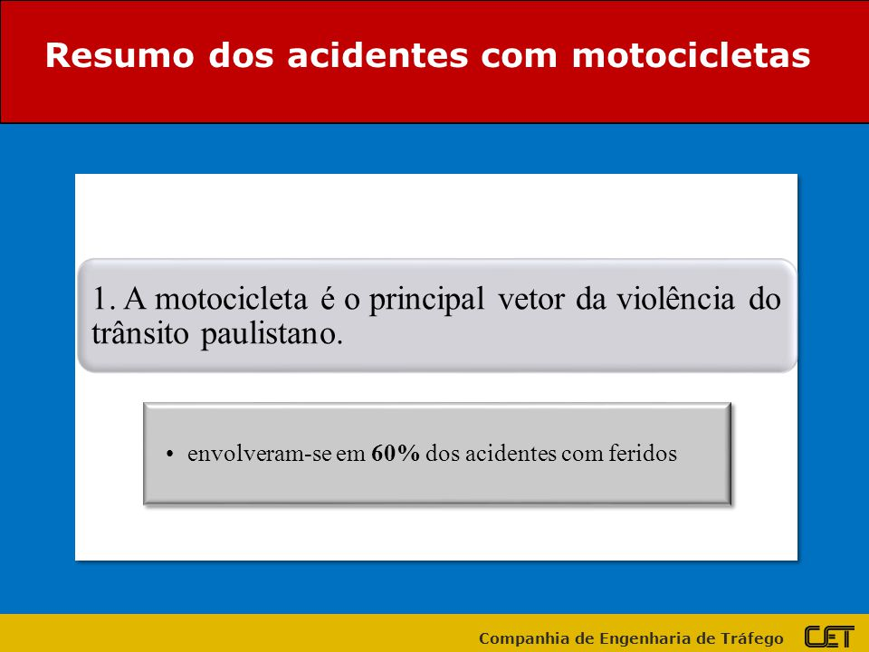 Resumo dos acidentes com motocicletas