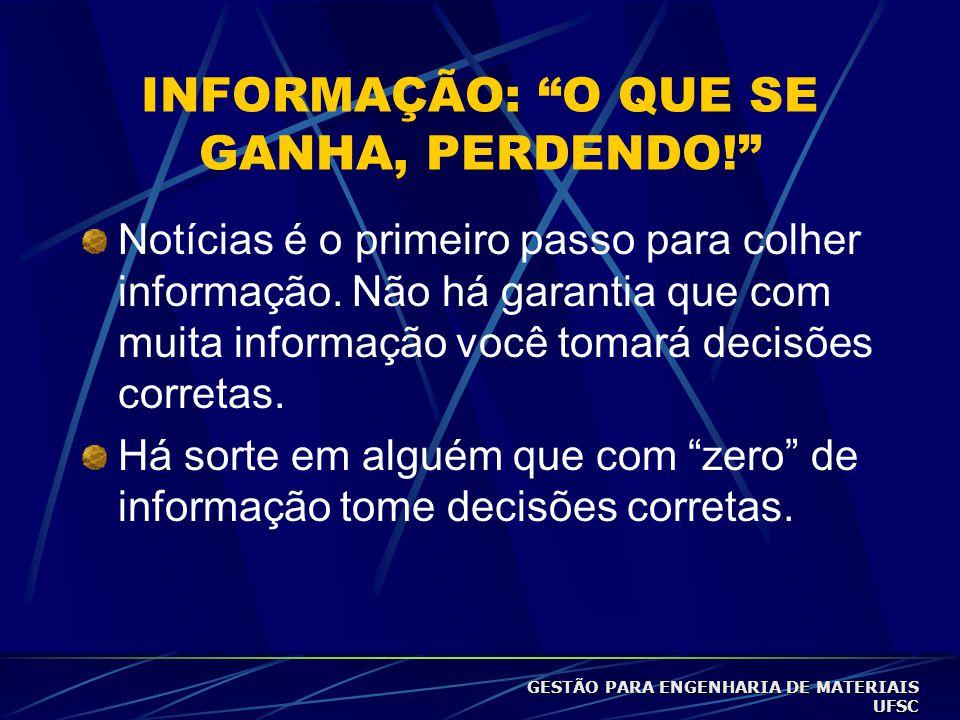 INFORMAÇÃO: O QUE SE GANHA, PERDENDO!