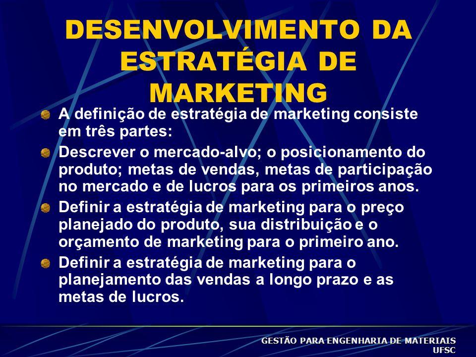 DESENVOLVIMENTO DA ESTRATÉGIA DE MARKETING