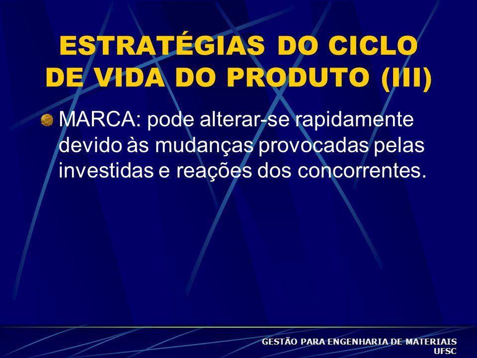 ESTRATÉGIAS DO CICLO DE VIDA DO PRODUTO (III)
