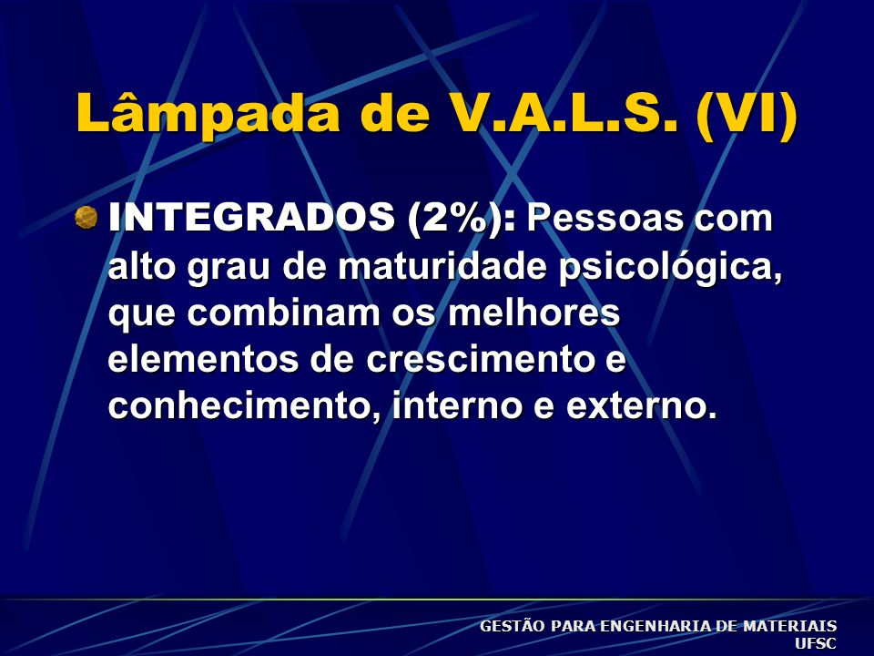 Lâmpada de V.A.L.S. (VI)