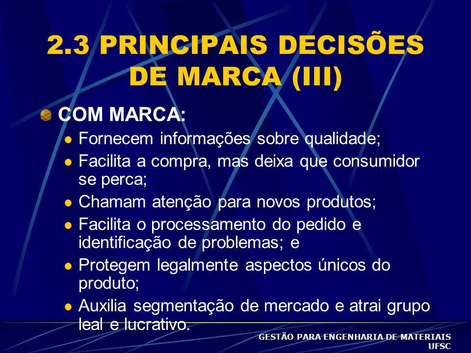 2.3 PRINCIPAIS DECISÕES DE MARCA (III)