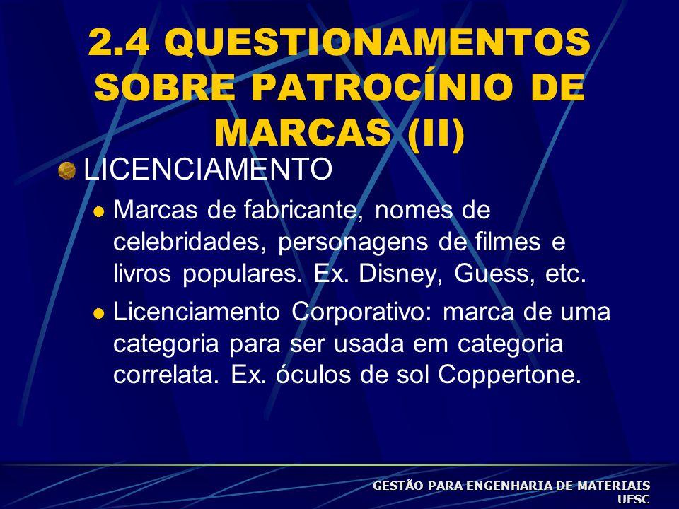 2.4 QUESTIONAMENTOS SOBRE PATROCÍNIO DE MARCAS (II)