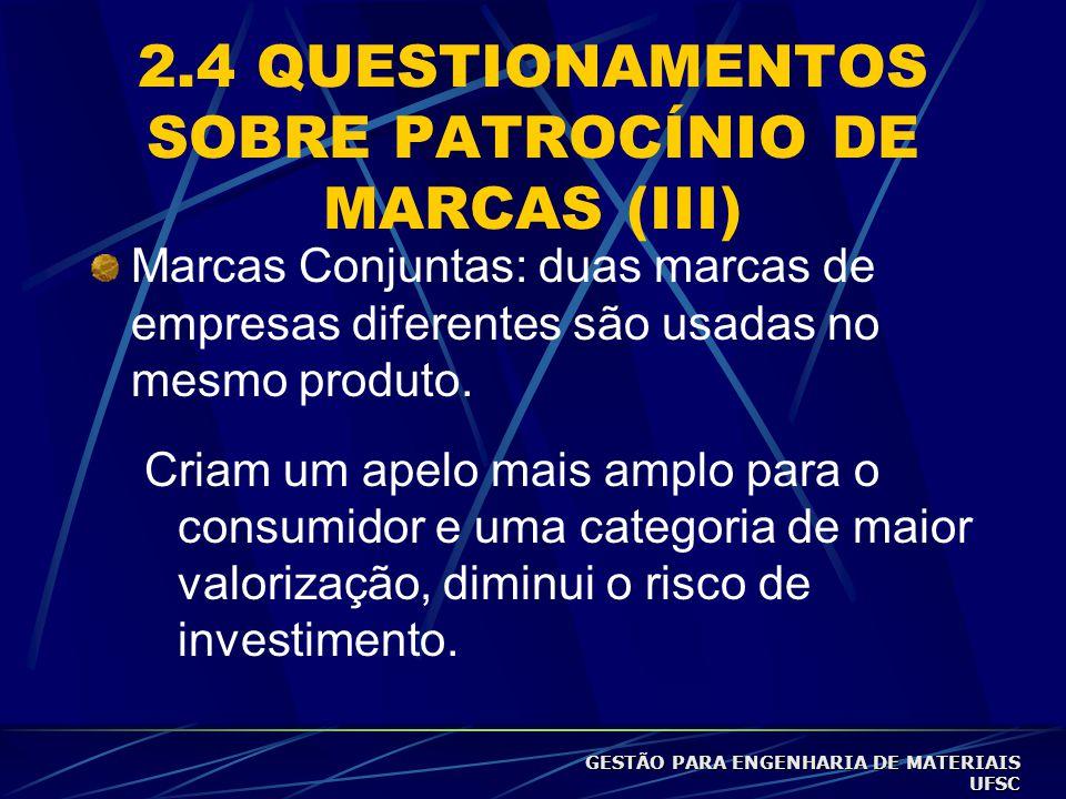 2.4 QUESTIONAMENTOS SOBRE PATROCÍNIO DE MARCAS (III)