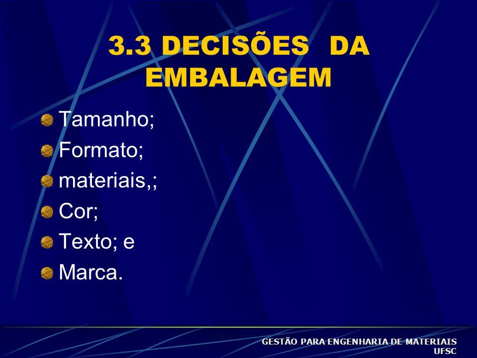 3.3 DECISÕES DA EMBALAGEM Tamanho; Formato; materiais,; Cor; Texto; e