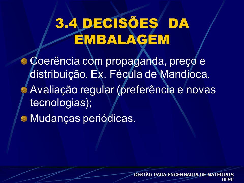 3.4 DECISÕES DA EMBALAGEM Coerência com propaganda, preço e distribuição. Ex. Fécula de Mandioca.