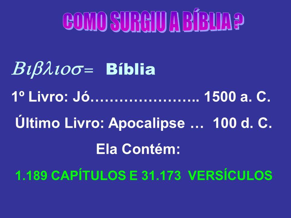 Biblios = Bíblia COMO SURGIU A BÍBLIA
