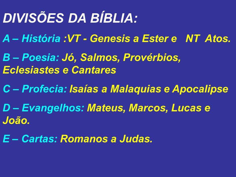 DIVISÕES DA BÍBLIA: A – História :VT - Genesis a Ester e NT Atos.