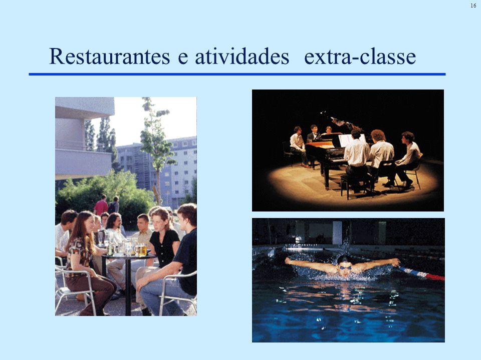 Restaurantes e atividades extra-classe