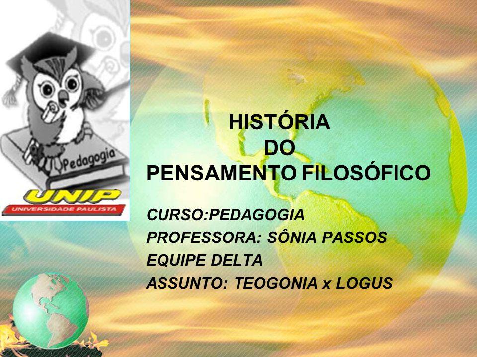 HISTÓRIA DO PENSAMENTO FILOSÓFICO