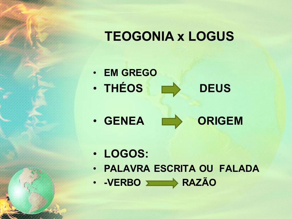 TEOGONIA x LOGUS THÉOS DEUS GENEA ORIGEM LOGOS: EM GREGO