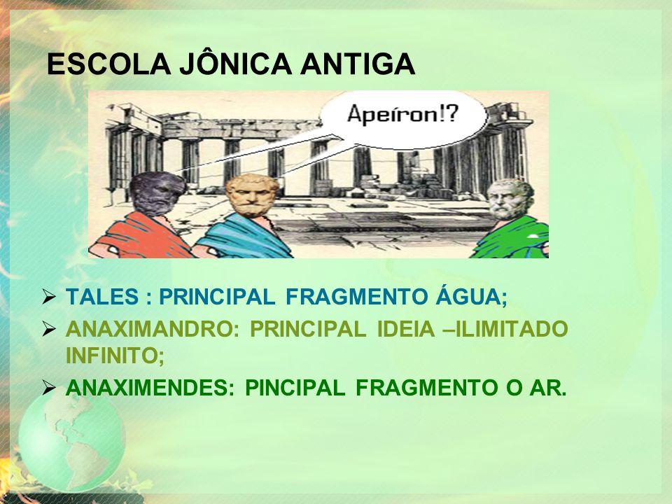 ESCOLA JÔNICA ANTIGA TALES : PRINCIPAL FRAGMENTO ÁGUA;